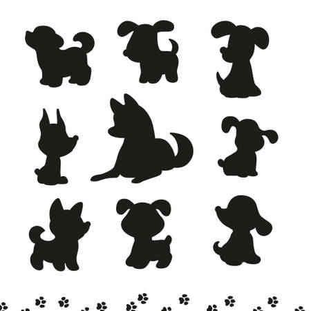 Collection of funny dog silhouetters different breeds sit and stand isolated on white background. Vector flat simple illustration. For stickers, pet shelter emblems, veterinary logo, gift tags.