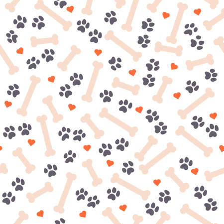 Seamless pattern design with dog paw traces, bone silhouettes and heart shapes isolated on white background. Vector flat cartoon illustration. For packaging, wrapping paper etc.