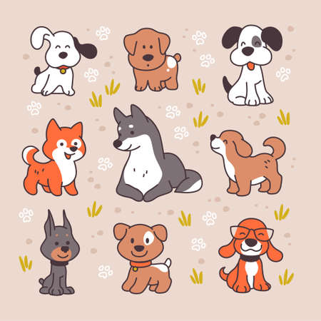 Collection of cute funny dog characters different breeds walking isolated on white background. Vector flat cartoon illustration. For stickers, pet shelter emblems, veterinary logo, gift tags.