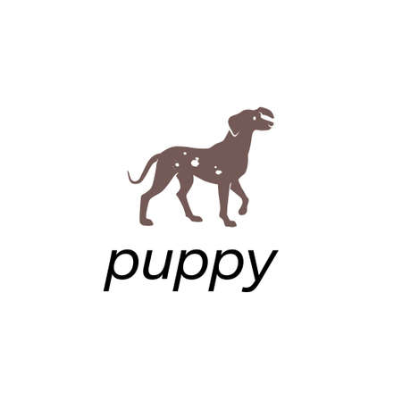 Dog animal silhouette isolated on white background. Vector flat illustration. For banners, cards, advertising, congratulations