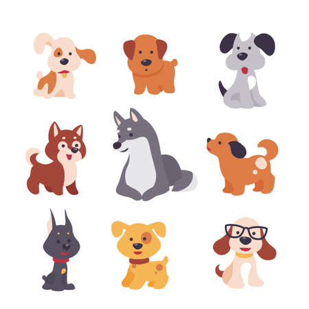 Collection of cute funny dog characters different breeds sit and stand isolated on white background. Vector flat illustration. For stickers, pet shelter emblems, veterinary logo, gift tags.