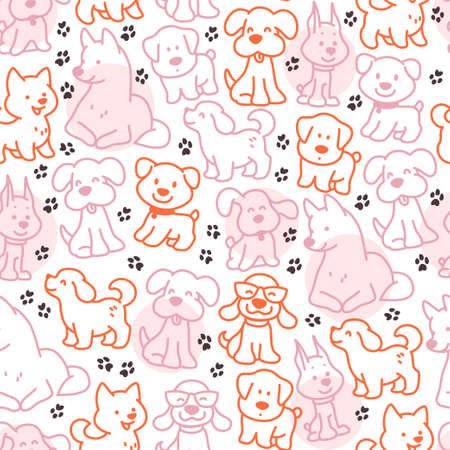 Seamless pattern design with cute little dog silhouettes and paw trace isolated on white background. Vector line art illustration. For kids gifts packaging, wrapping paper etc. Ilustração