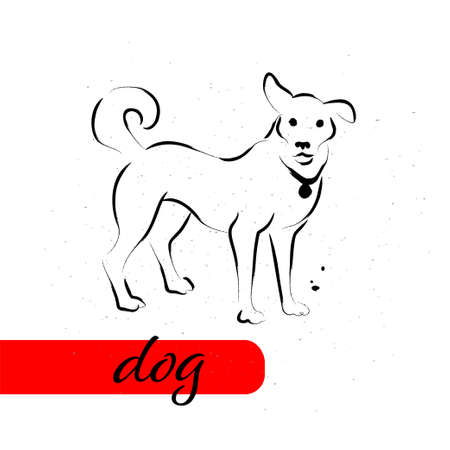 Chinese dog year calendar animal silhouette isolated on white textured background. Vector hand drawn sketch style illustration. For banners, cards, advertising, congratulations. Ilustração