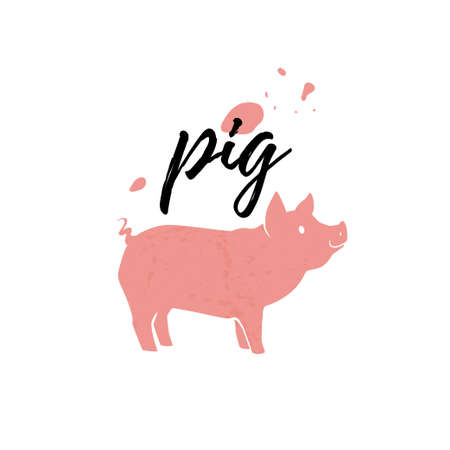 Pig animal silhouette isolated on white background. Vector flat illustration. For banners, cards, advertising, congratulations, logo. Ilustração