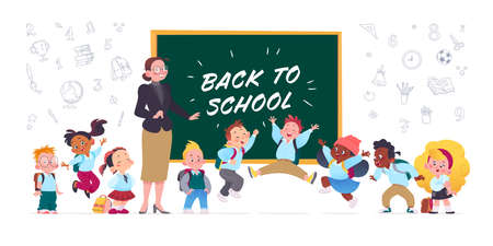 Back to school illustration with happy school kids jumping at the blackboard and lady teacher standing in glasses. Hand drawn line school icons isolated on white background. For banners, advertising.