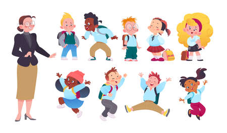 Teacher and happy school kids set in uniform with school bags isolated on white background. Flat cartoon style. Vector illustration. For banners, advertising, packaging, web, wallpapers etc.