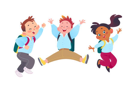 Happy school kids group with backpacks having fun together. Students characters in uniform smiling, jumping. Vector flat cartoon illustration. For ads, banners, packaging.