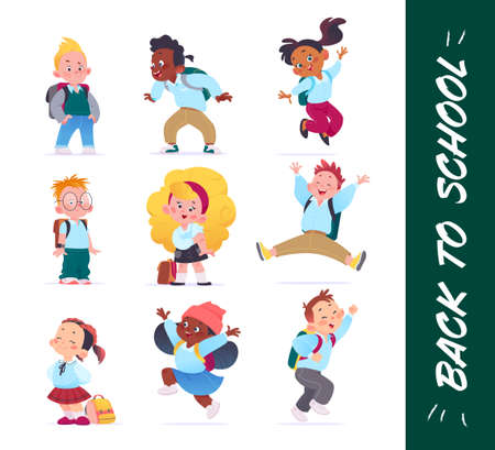 Happy school kids characters set in uniform with school bags isolated on white background. Flat cartoon style. Vector illustration. For banners, advertising, packaging, web, wallpapers etc.