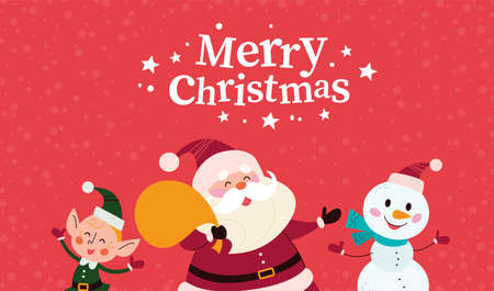 Christmas banner with cute happy winter characters. Santa Claus, snowman, elf and text Merry Christmas greeting. Vector flat illustration. For cards, packaging, web, invitation, banner.