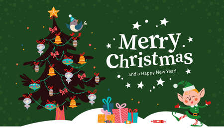 Christmas banner with cute happy winter Santa elf character, decorated fir tree, pile of gifts and text Merry Christmas greeting. Vector flat illustration. For cards, packaging, web, invitation.