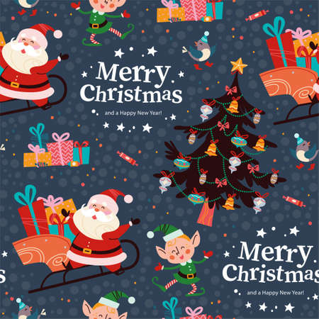 Seamless pattern with funny Santa Claus and elf characters, gifts, fir tree, text congratulation. For Christmas cards, invitations, packaging paper etc. Vector flat cartoon illustration.