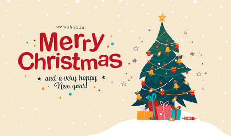 Merry Christmas and Happy New year congratulation card with text congratulation and pile of gifts and candy at decorated fir tree. Vector flat illustration for banner, invitation, package, flayer, web