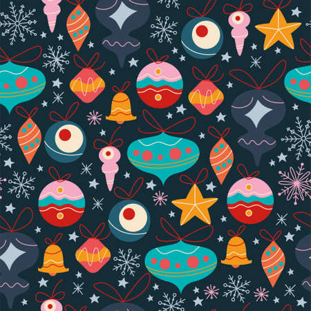 Seamless pattern with different fir tree decoration toys, bells and balls, abstract snowflakes and stars isolated. For Christmas cards, invitations, packaging paper. Vector flat cartoon illustration.