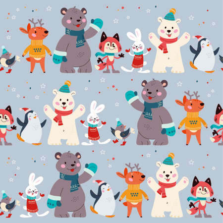 Seamless pattern with funny polar bear, penguin, fox, deer and rabbit animal characters in hats, scarfs, sweaters. For Christmas cards, invitations, packaging paper. Vector flat cartoon illustration. Иллюстрация
