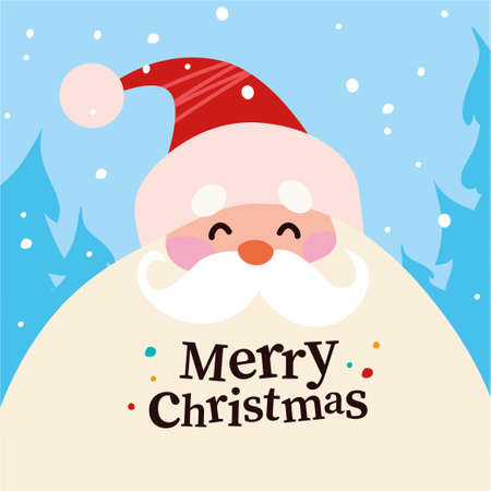 Funny cute Santa Claus character portrait in red hat in winter snowy forest isolated. Vector flat cartoon illustration. For Christmas cards, banners, stickers, tags, advertise, package etc.