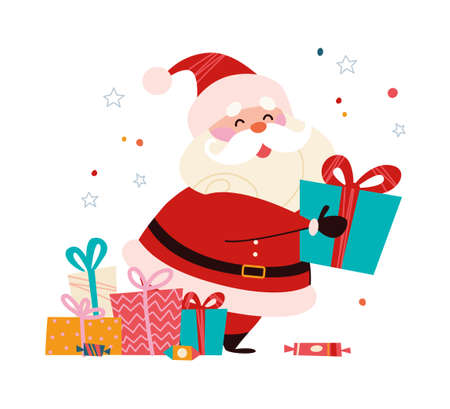 Funny cute Santa Claus character with pile of gift boxes isolated. Vector flat cartoon illustration. For Christmas cards, banners, stickers, tags, patterns etc.