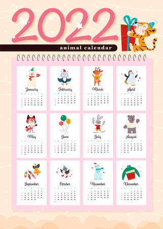 2022 new year creative monthly calendar for kids with cute funny animals characters design template. Vector flat simple hand drawn illustrations. Иллюстрация