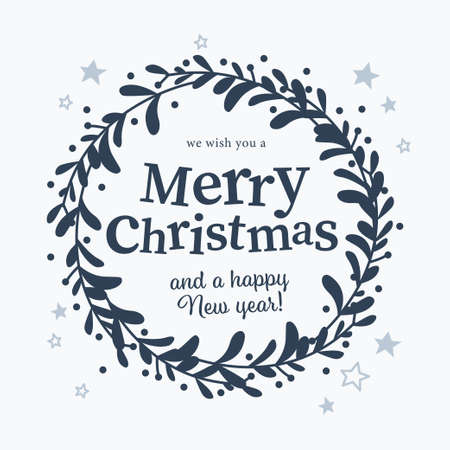 Merry Christmas and Happy New year congratulation text and mistletoe wreath isolated. Vector flat illustration. For cards, banners, prints, packaging, invitations.