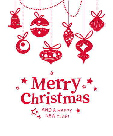 Merry Christmas banner with congratulation text and xmas fir tree balls, toys, baubles icons hang ornament isolated. Vector flat illustration. For cards, banners, prints, packaging, invitations Иллюстрация