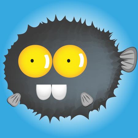 pez globo: dibujos animados blowfish grandes ojos divertida en el fondo azul Vectores