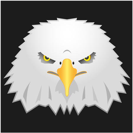 cartoon eagle head with fierce eyes isolated on black background Vector