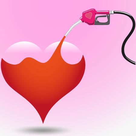 remplir: remplir amour avec distributeur de carburant isoler sur fond rose Illustration