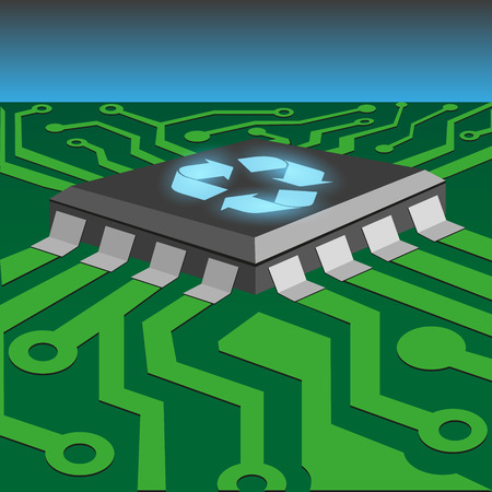 ic: recycle concept by integrated circuit on printed circuit board