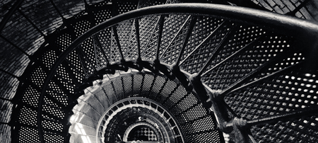 Black and White Panoramic, Inside Lighthouse Tower in North Carolina, USA