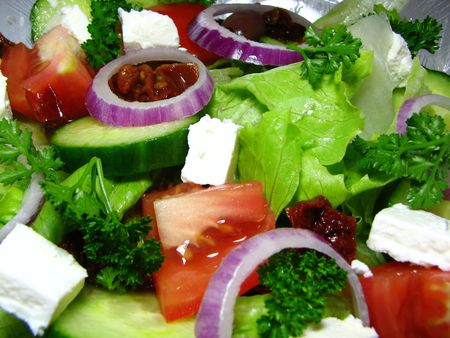Macro photo of fresh Greek Style Salad Stock Photo - 4237296