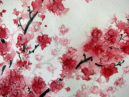 textural: Cherry Blossom Watercolor II
