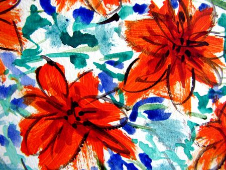 Orange Flowers in Watercolor I photo