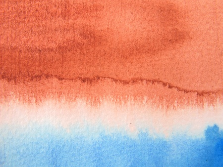Burnt Sienna and blue Watercolor 1 Stock Photo