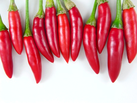 capsicums: Line of 11 Red Hot Chilli