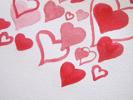 Watercolor Hearts 3