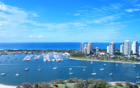 View of the Broadwater from Southport Stock Photo