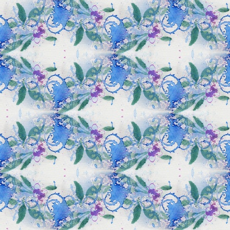 Blue Floral Seamless Pattern photo