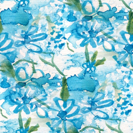 Seamless Blue Watercolor Floral photo