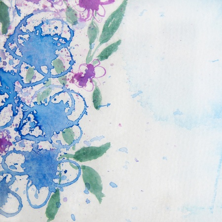 color tone: Blue and Purple Floral Watercolor Stock Photo