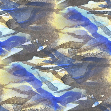 Seamless Blue with Brown Watercolor Abstract  photo