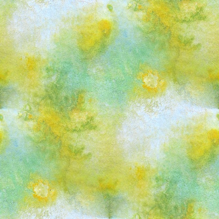 Green with Yellow Seamless Watercolor 2 Stock Photo