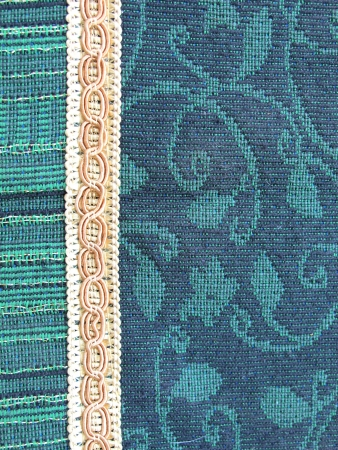 Green and Blue Woven fabric with border photo