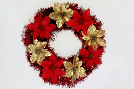 Gold and Red Christmas Poinsetta Wreath