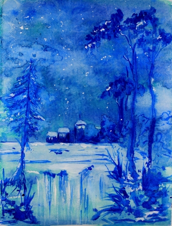 Blue Christmas Landscape photo