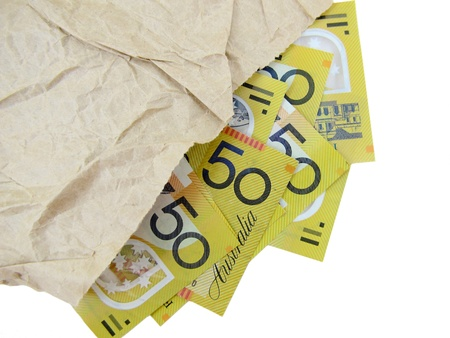 50 dollar bill: Australian Fifty dollar Notes in paper bag