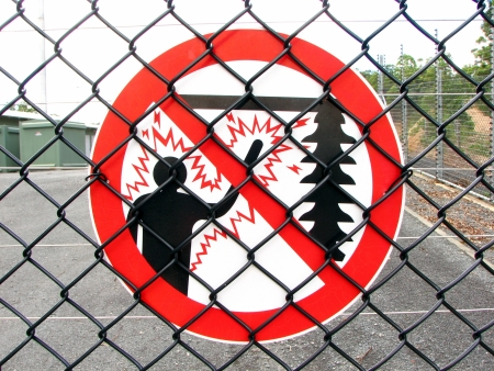 High Voltage Fence Sign 1 Stock Photo - 16846998
