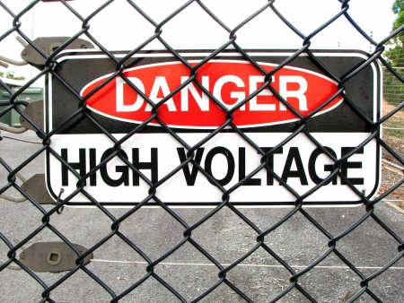 High Voltage Fence Sign 2 Stock Photo - 16846996