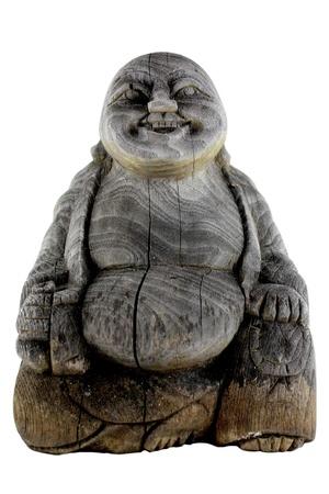 uplifting: Isolated Aged Wooden Buddha