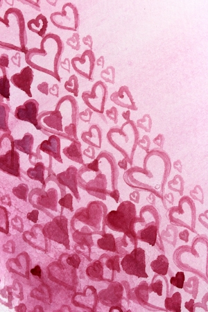 Pink Hearts Watercolor Design 2 photo