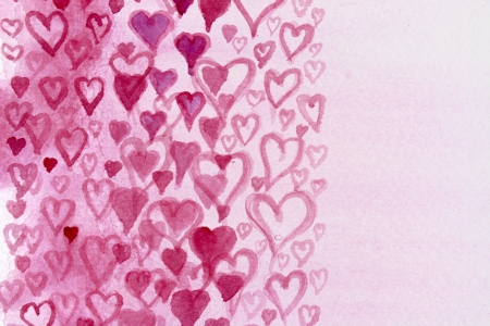 Pink Hearts Watercolor Design 3 photo