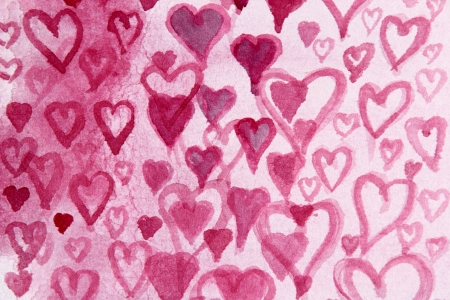 heart tone: Pink Hearts Watercolor Design 4